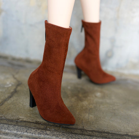 High Heel Boots (Dark Brown)