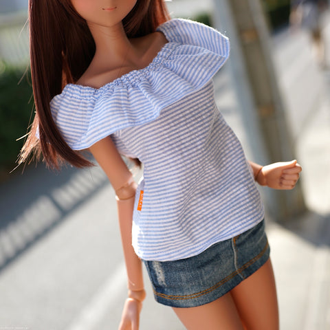Off Shoulder Blouse Seersucker Blue