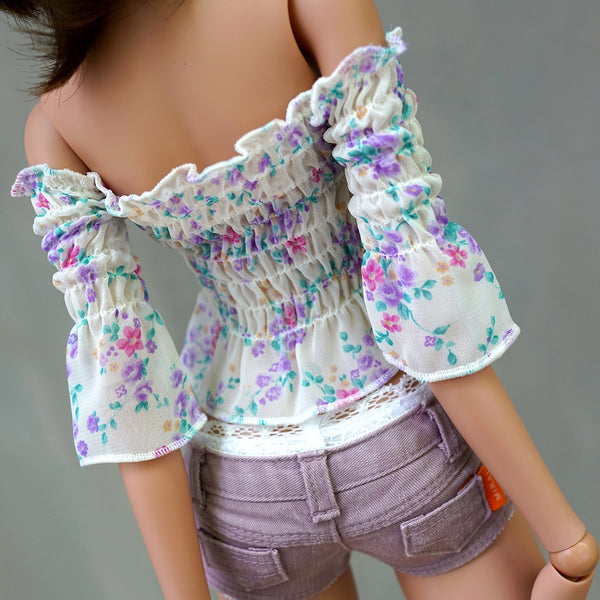 Shirred Blouse (Floral White)