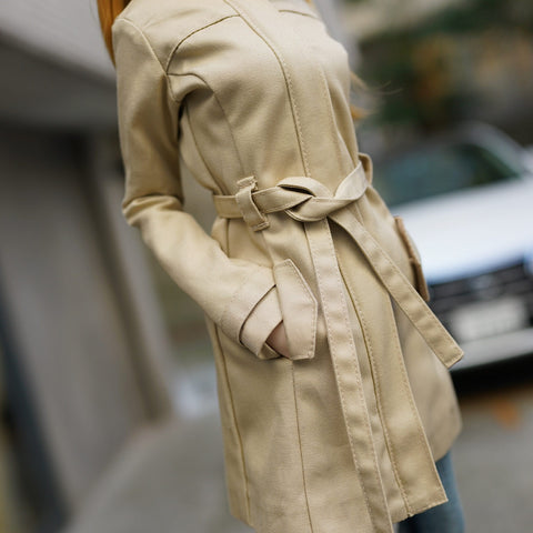 Stand Collar Trench Coat (Beige)