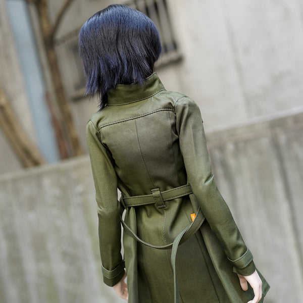 Stand Collar Trench Coat (Khaki Green)