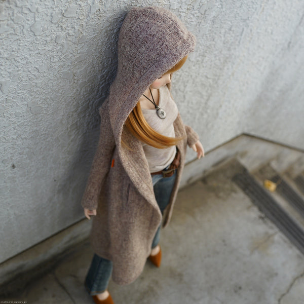 Hoodie Knit Coat (Rusty Brown)