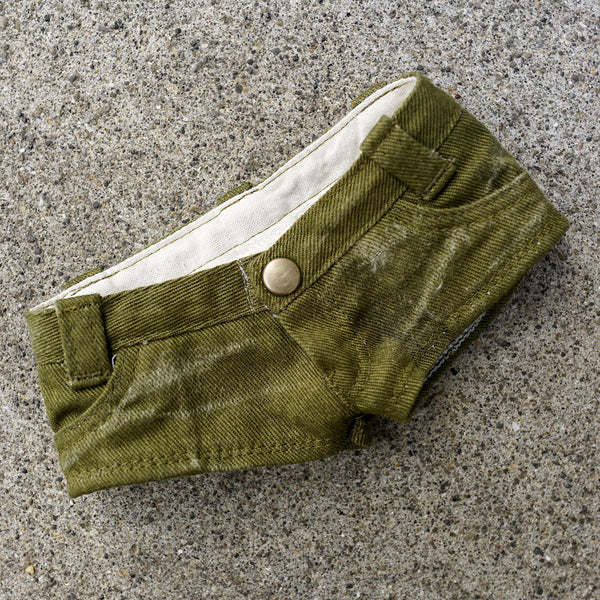 Low Rise Short Jeans (Worn Khaki Green)