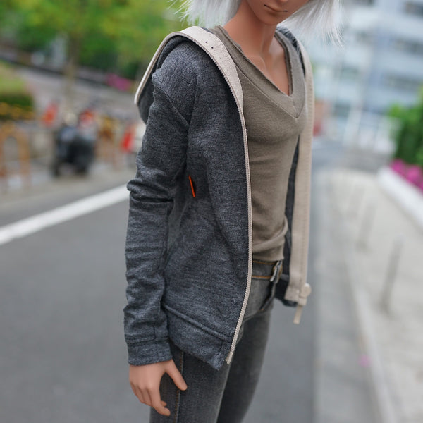 Hooded Zip Cardigan (Charcoal)