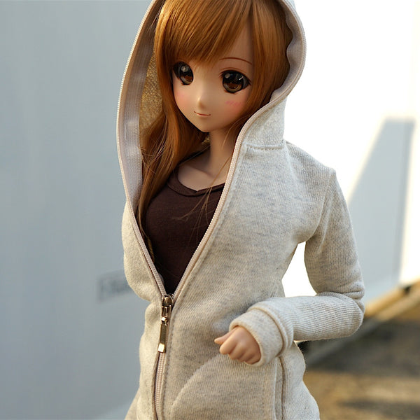 Hooded Zip Cardigan (Cream)