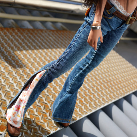 Split Bell Bottoms (Floral Tangerine)