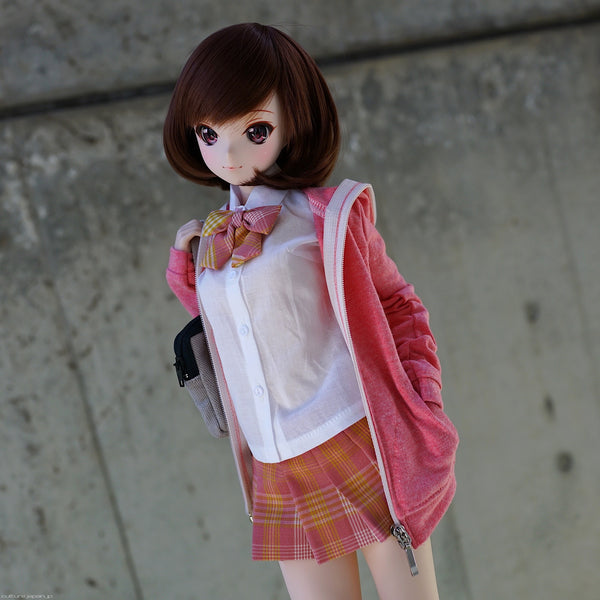 Hooded Zip Cardigan (Reddish Pink)