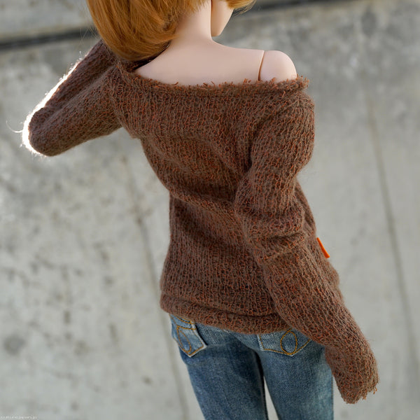 Frayed Knit Sweater (Rusty Brown)