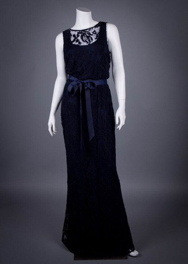 Long Blouson Gown - Navy