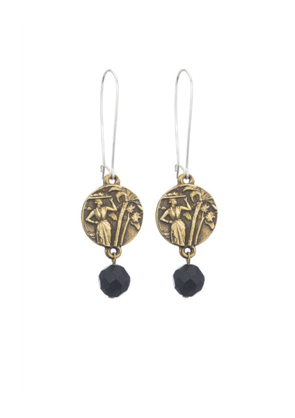 French Kande Drop Black Onyx Earrings