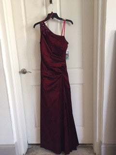 Hailey Burgundy One Shoulder Gown