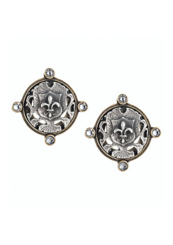 French Kande Brass and Silver Earrings with Mini Fleur Medallions