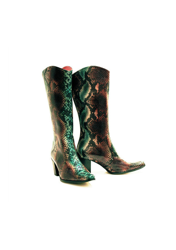 Zeyzani Python Leather Cowboy Boots