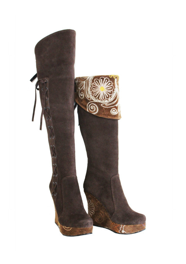 Zeyzani Over The Knee Suede Wedge Boot