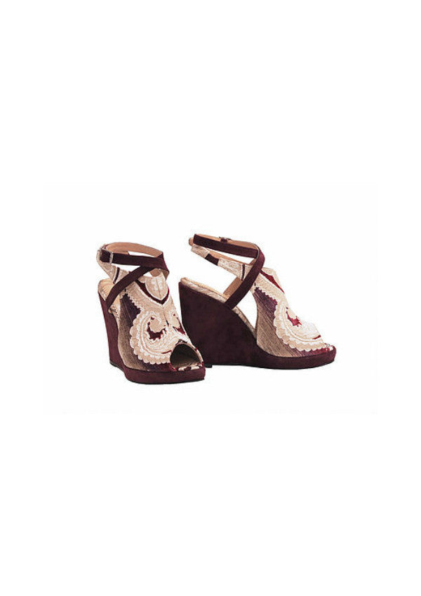 Zeyzani Leather Strap Wedge Smyrna Bordeaux