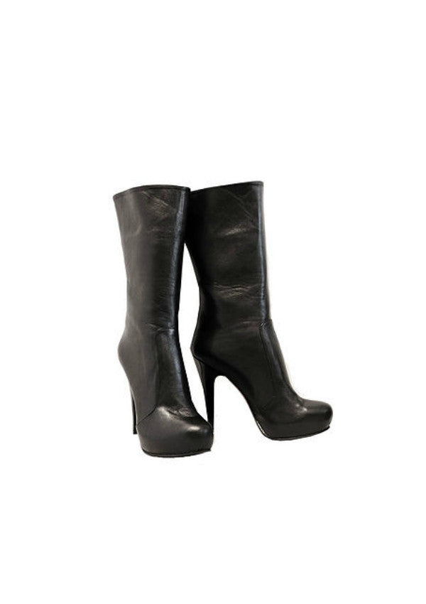 Zeyzani Mid Calf Black Leather Stiletto Boot