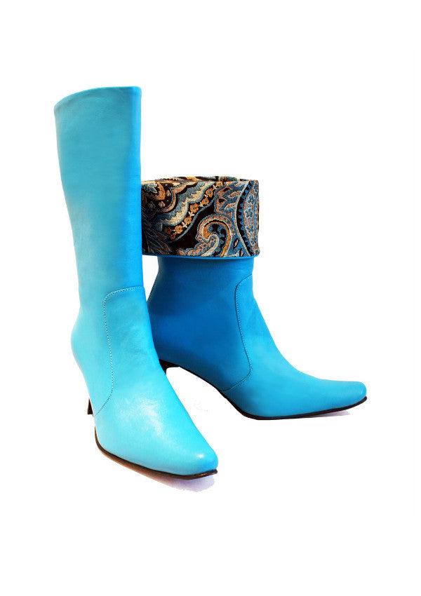 Zeyzani Blue Leather Boot