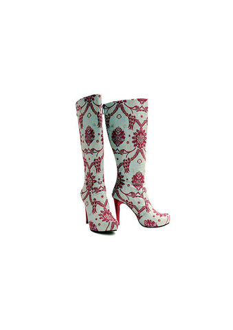 Zeyzani Blue Ottoman Red Stiletto Boot