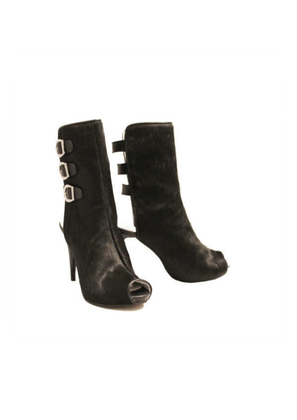 Zeyzani Calf Hair Open Back Buckle Boot