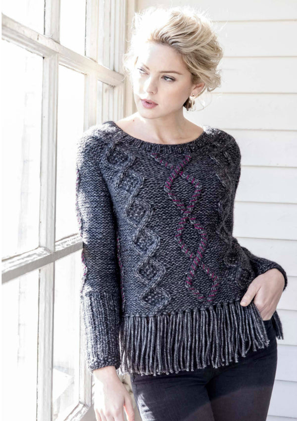 Indigenous Cable Fringe Pullover