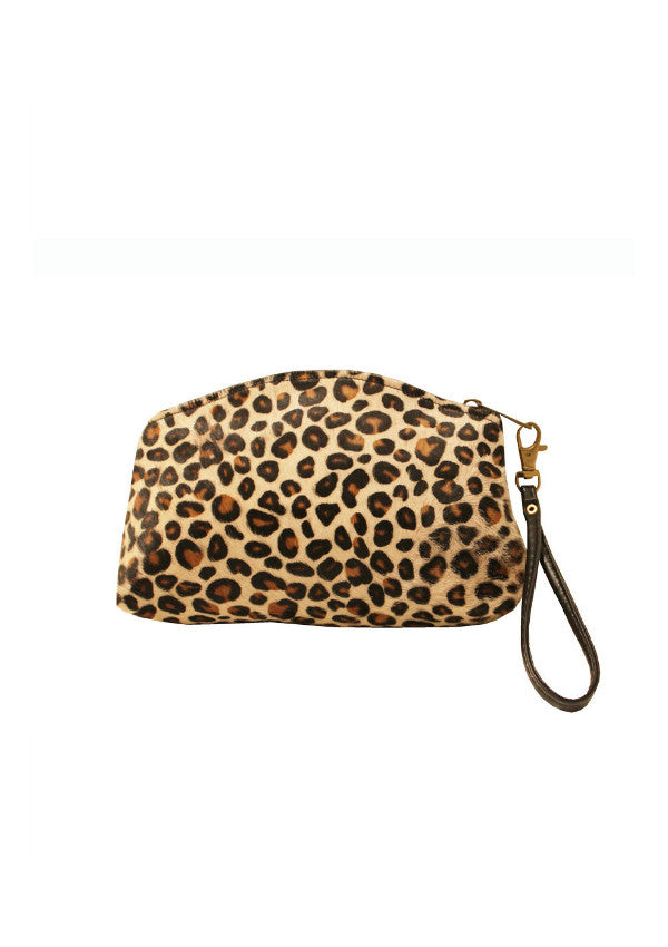 Zeyzani Calf Hair Cheetah Clutch
