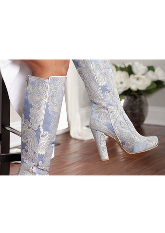 Zeyzani Ice Blue Chunky Heel Knee High Boot