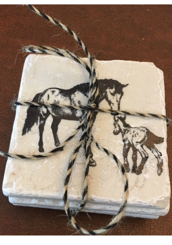 Black Petticoat Mare and Foal Coaster