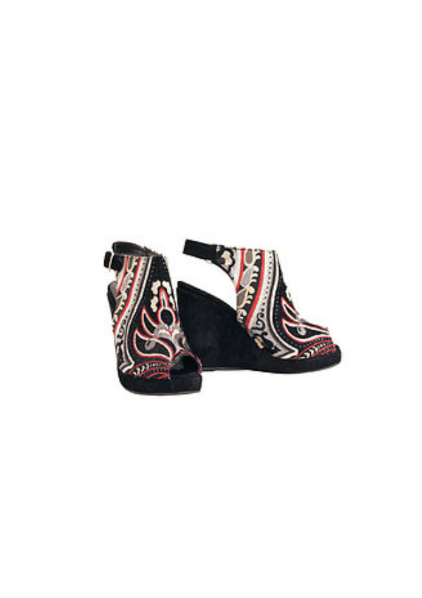 Zeyzani Textile Wedge in Dark Angel