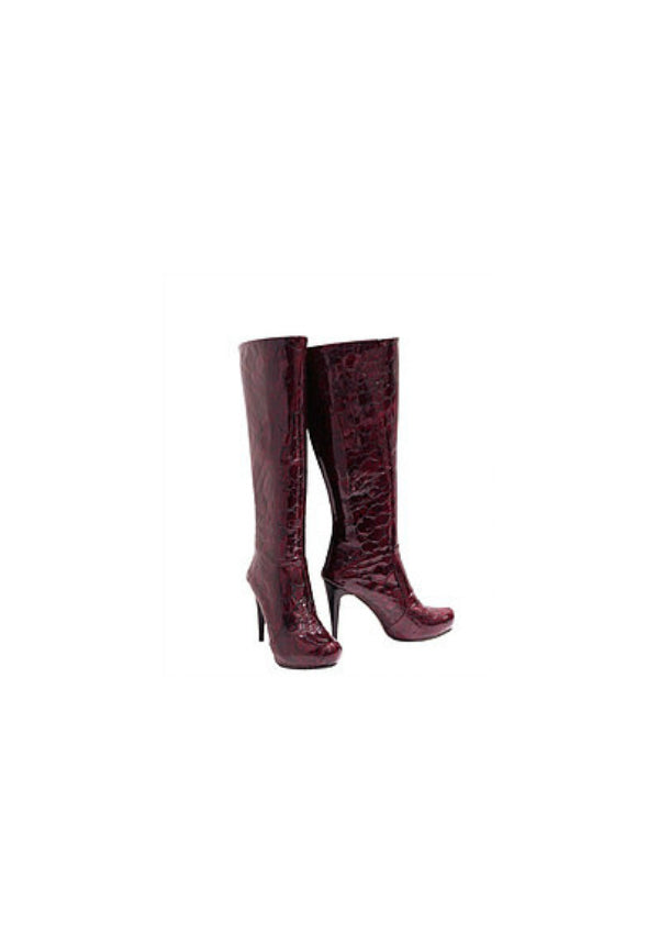 Zeyzani Deep Red Leather Stiletto Boot