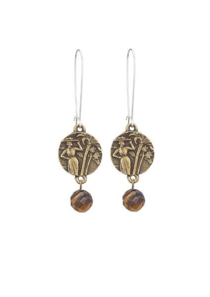 French Kande Drop Tiger's Eye Earrings