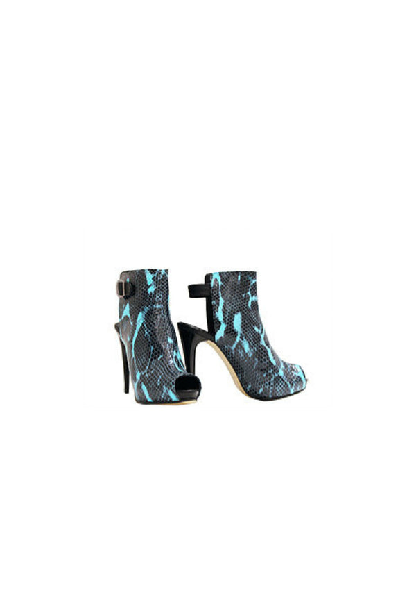 Zeyzani Lightning Python Open Back Ankle Boot