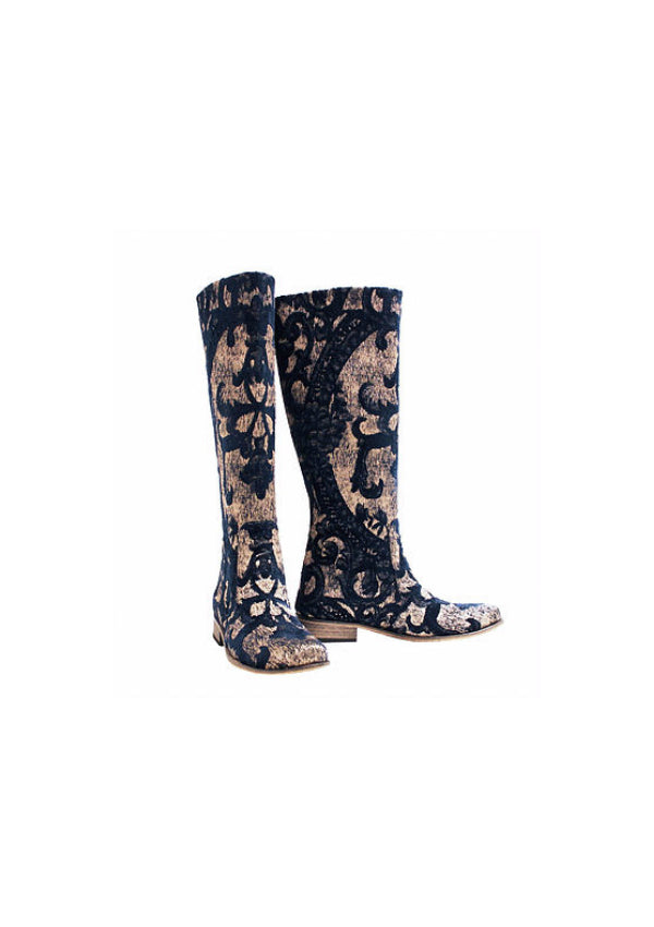 Zeyzani Navy-Gold Textile Riding Boot
