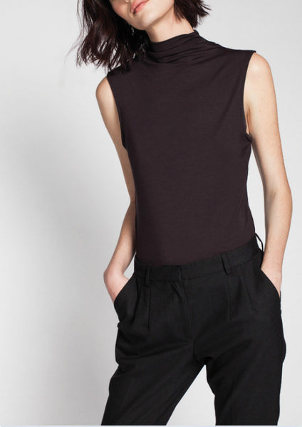 Asmar Ash Sleeveless Funnel Neck Top