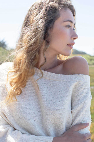 Indigenous Off Shoulder Boucle' Sweater