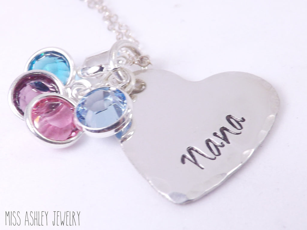 Nana's Sterling Silver Heart Necklace with Birthstone Charms