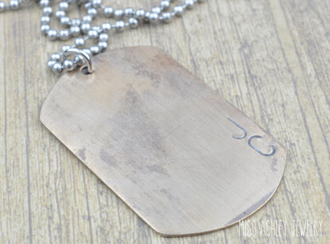 Bronze Personalized Dog Tag- Rustic Jewelry, Mens Jewelry