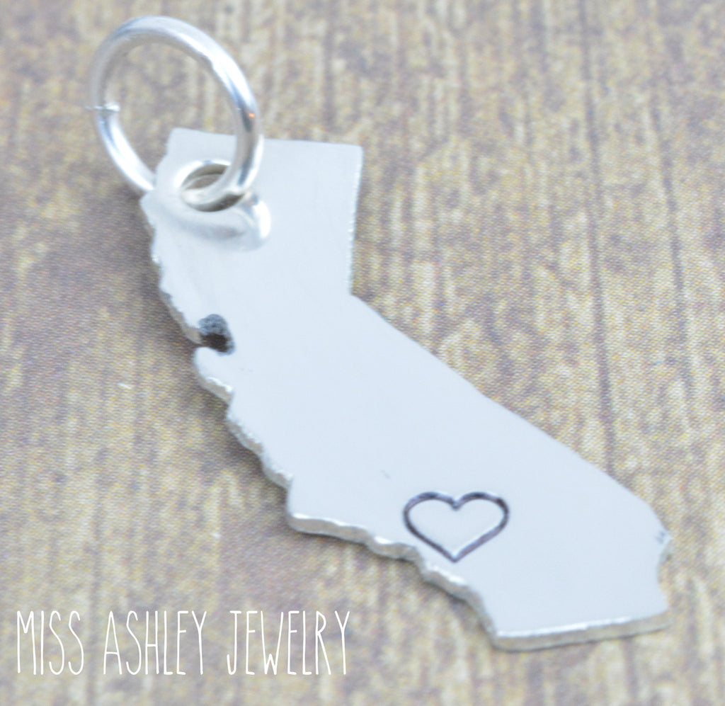 Sterling Silver State Charm Pendant, Add On, Add To Your Favorite Chain, Sterling Silver, home is where my heart is