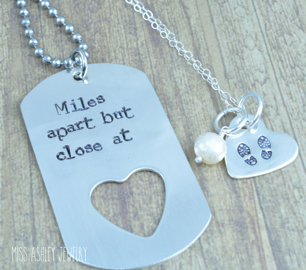Sterling Silver Dog Tag and Heart Necklace Set, Hand Stamped ...
