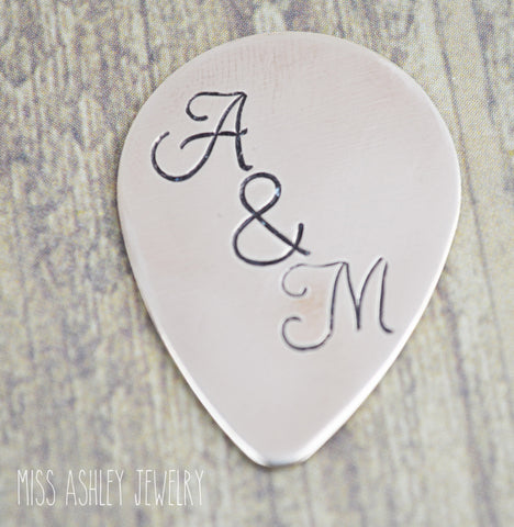 Bronze Initial Hand Stamped Guitar Pick- Personalized