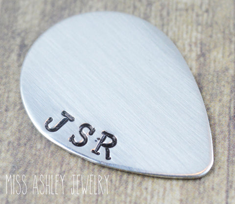 Sterling Silver Initial Monogram Hand Stamped Guitar Pick- Personalized
