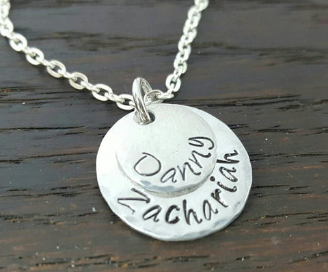 2 Layered Disc Necklace- Hand Stamped Kids Name Necklace for Mom, Grandma, by Miss Ashley Jewelry