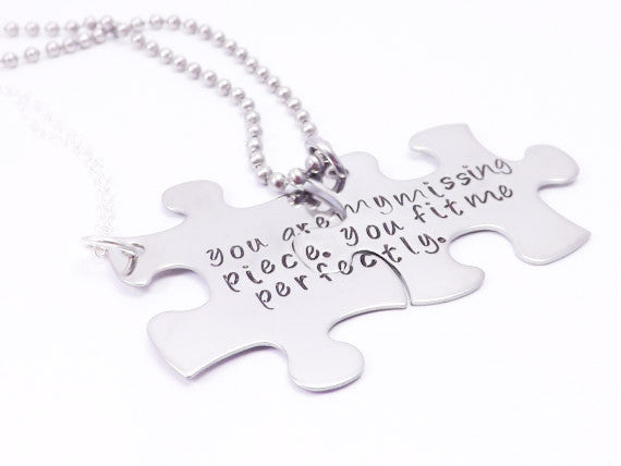 Personalize Your Own His and Her Puzzle Piece Necklace Set- You Are My Missing Piece- Personalized Message, Deployment Jewelry