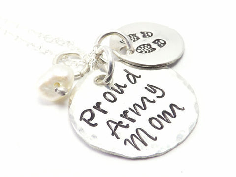 Proud Army Mom Sterling Silver Necklace with Combat Boots- Personalized Jewelry, Military Mother Necklace, Army Mom