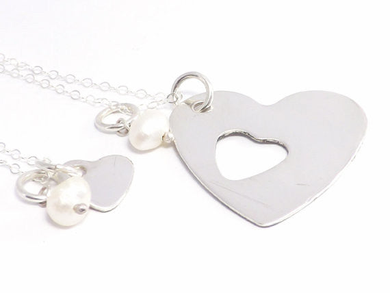 Sterling Silver Mother and Daughter Heart Necklace Set, We Fit Together Like Mother Like Daughter