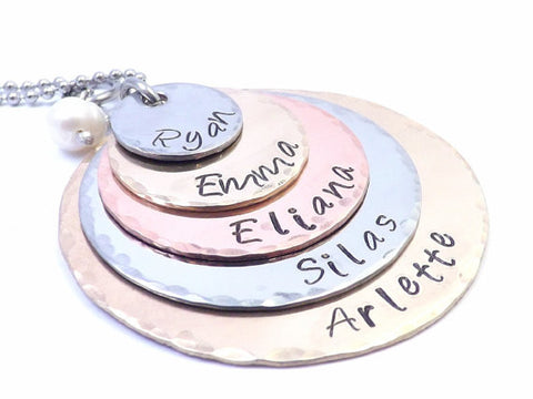 Five Layer Mixed Metal Mothers or Grandmothers Hand Stamped Personalized Necklace, Childrens Name Necklace by Miss Ashley Jewelry