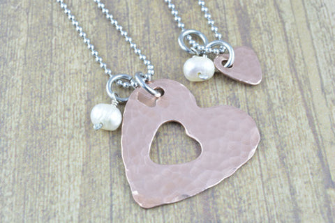 Copper Textured Mother and Daugher Heart Necklace Set with Fresh Water Pearls, Mothers Jewelry