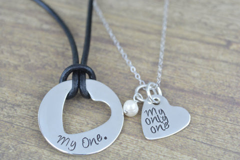 My One, My Only One- Yellowcard Inspired Sterling Silver Disc and Heart Necklace Set- Couples Jewelry, Deployment Jewelry, His and Her Jewelry by Miss Ashley Jewelry