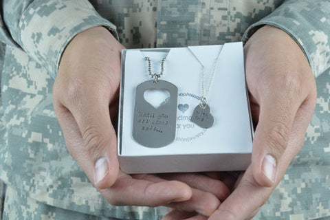 Until You Are Home Safe... With Me- Customize Your Own Necklace Set- Stainless Steel Dog Tag and Heart Necklace Set by Miss Ashley Jewelry