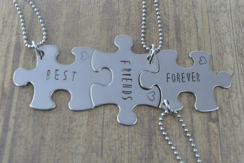 Best Friends Forever Puzzle Piece Necklace Set in Stainless Steel, Set of 3 Three Necklaces, Best Friend Gifts