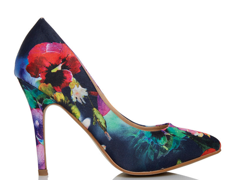 Chloe Floral Digital Print High Heels